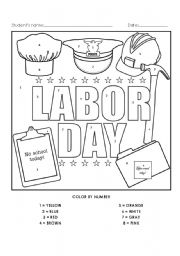 Printables Labor Day Worksheets labor day color by number activity