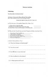 English Worksheet: WEEKEND ACTIVITIES (2)- LISTENING
