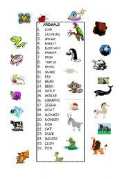 English Worksheets:  26 ANIMALS - matching activity