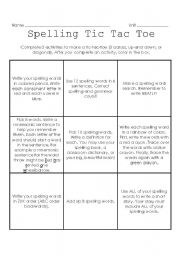 English Worksheets: Spelling Tic Tac Toe