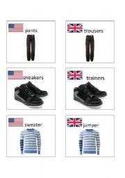 English worksheet: American / British English flashcards 1