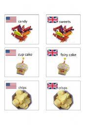 English worksheet: American / British English flashcards 2