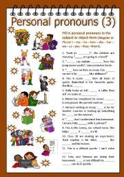 English Worksheet: Personal pronouns 3