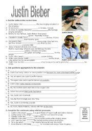 English Worksheet: Justin Bieber