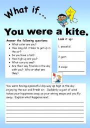 English Worksheets: What if Series 13 (object series): What if� You were a kite.