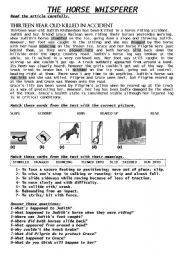 English Worksheet: THE HORSE WHISPERER MOVIE/PASSIVE VOICE ACTIVITY