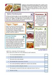 English Worksheet: Restaurants Reading