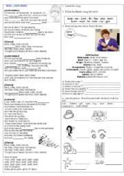 English Worksheets: Song: Justin Bieber - Baby - verbs - information about singer.