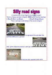 English Worksheet: Silly Road Signs