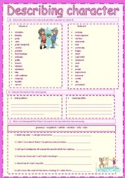 English Worksheet: Describing Character