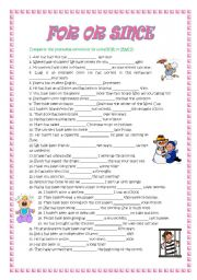 English Worksheet: FOR OR SINCE