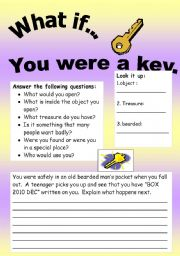 English Worksheets: What if Series 14 (object series): What if� You were a key.
