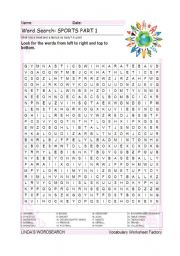 English Worksheet: WORDSEARCH: SPORTS PART 1