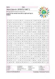 English Worksheet: WORDSEARCH: SPORTS PART 2