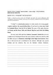 English worksheet: Twilight movie class plan