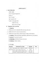 English Worksheets: Lesson Plan: