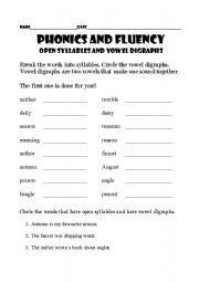 Open And Closed Syllables Worksheets | ABITLIKETHIS