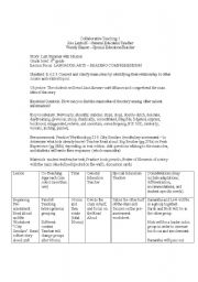 English worksheets: Co-Teaching Example - Last Summer with Miazon