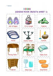 English Worksheet Dining Room Objects1