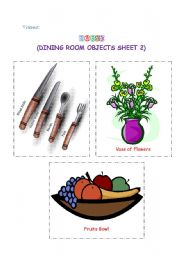 English Worksheet: Dining room objects 2