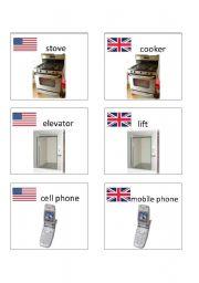 English worksheet: American / British English flashcards 6