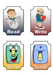 English Worksheets: Action Verb Flashcards (7 of 12)