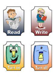 English worksheet: Action Verb Flashcards (7 of 12)