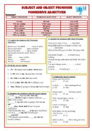 English Worksheet: Subject and Object Pronouns- Possessive Adjectives / Keys