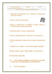 English worksheet: Activity on the Paparazzi song by Lady Gaga.