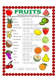 English Worksheet: DOUBLE PUZZLE (FRUITS) + KEY