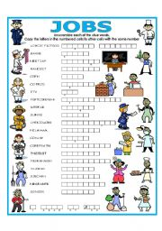 English Worksheet: DOUBLE PUZZLE (JOBS) + KEY