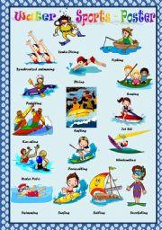 English Worksheet: WATER SPORTS - POSTER