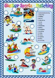 English Worksheet: WATER SPORTS - MATCHING