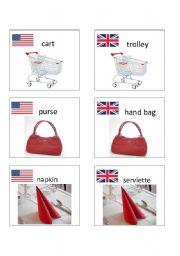 English worksheet: American / British English flashcards 7
