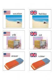English worksheet: American / British English flashcards 8