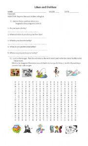 English Worksheet: hobbies and expressing preferences
