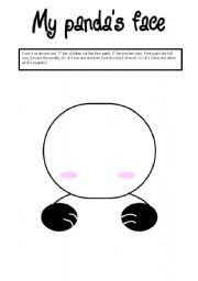 English Worksheet: my panda face (oral activity)