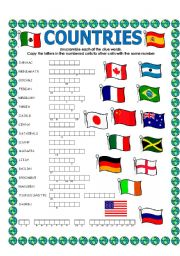 English Worksheet: DOUBLE PUZZLE (COUNTRIES) + KEY