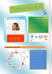 English Worksheets: Parts of the body activity