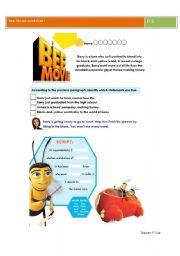 English Worksheet: Bee movie worksheet