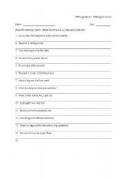 English Worksheet: Editing/Correcting mistakes