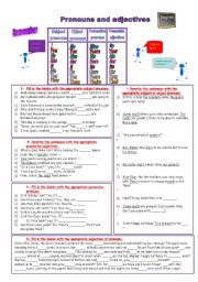 English Worksheet: pronouns and adjectives : subjects, objects, possessive