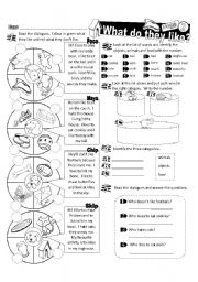 English worksheet: What  Do They Like Series_02 Dogs (Fully Editable)