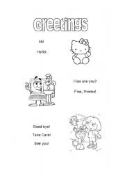English Worksheets: Basic Greeting to Paint!