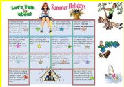 English Worksheet: Let�s talk about summer holidays!