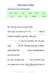 English Worksheets: Mr.Gumpy�s Outing