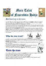 English Worksheets: Tales of Nasreddin Hodja--Reading Comprehension (3pages)