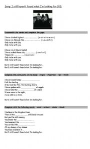 English Worksheet: song: I Still Haven´t Found What I´m Looking for (U2)