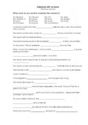 English Worksheets: Adjectives with no nouns