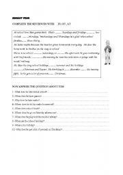 English Worksheets: reading comprehension. prep